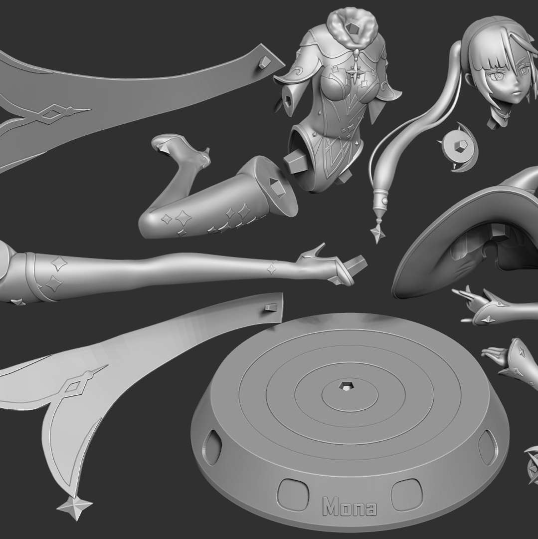 Mona Megistus - Genshin Impact Fanart - Mona Megistus is a playable Hydro character in Genshin Impact - quote from wiki  When you purchase this model, you will own:  - STL, OBJ file with 12 separated files (with key to connect together) is ready for 3D printing.  - Zbrush original files (ZTL) for you to customize as you like.  This is version 1.0 of this model.  Hope you like her. Thanks for viewing! - Los mejores archivos para impresión 3D del mundo. Modelos Stl divididos en partes para facilitar la impresión 3D. Todo tipo de personajes, decoración, cosplay, prótesis, piezas. Calidad en impresión 3D. Modelos 3D asequibles. Bajo costo. Compras colectivas de archivos 3D.