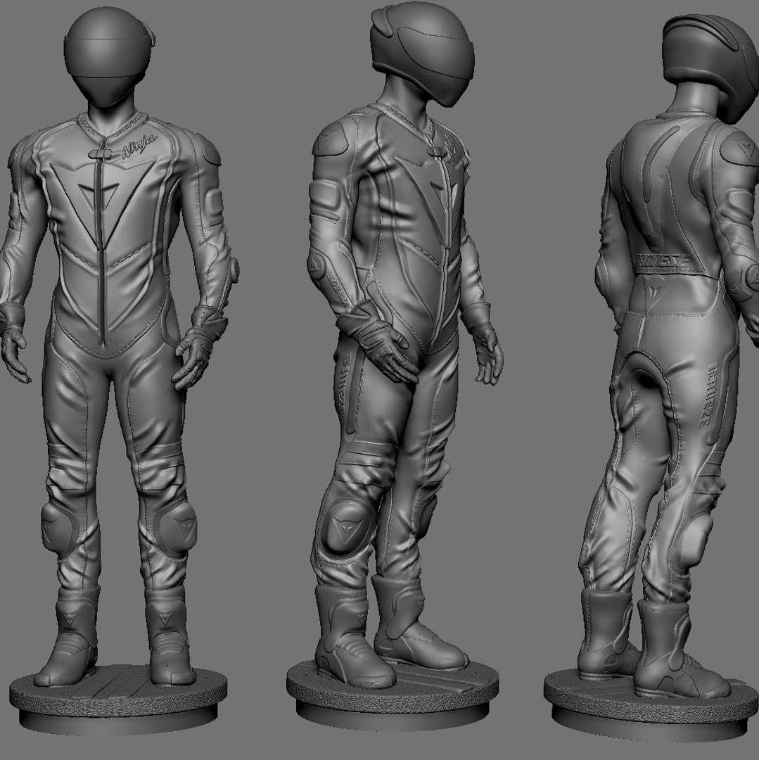 Motorcyclist - biker in daynese clothes  - Los mejores archivos para impresión 3D del mundo. Modelos Stl divididos en partes para facilitar la impresión 3D. Todo tipo de personajes, decoración, cosplay, prótesis, piezas. Calidad en impresión 3D. Modelos 3D asequibles. Bajo costo. Compras colectivas de archivos 3D.