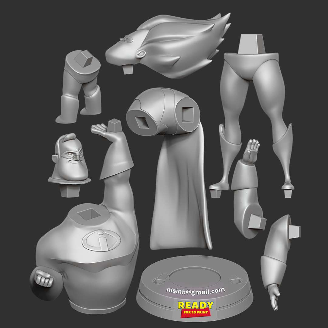 Mr Incredible vs Syndrome  - This 3D cartoon even though it's been released for a long time, I still watch it from time to time.  When you purchase this model, you will own:  - STL, OBJ file with 09 separated files (with key to connect together) is ready for 3D printing.  - Zbrush original files (ZTL) for you to customize as you like.  This is version 1.0 of this model.  Hope you like him. Thanks for viewing! - The best files for 3D printing in the world. Stl models divided into parts to facilitate 3D printing. All kinds of characters, decoration, cosplay, prosthetics, pieces. Quality in 3D printing. Affordable 3D models. Low cost. Collective purchases of 3D files.