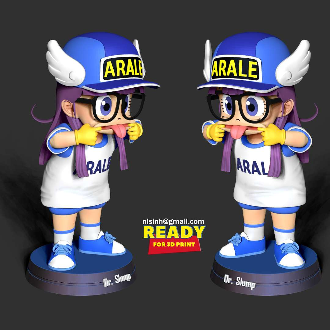 Naughty Arale Norimaki  - If this girl is naughty number 2, then I don't think anyone will be number 1. :)))  When you purchase this model, you will own:  - STL, OBJ file with 06 separated files (with key to connect together) is ready for 3D printing.  - Zbrush original files (ZTL) for you to customize as you like.  This is version 1.0 of this model.  Hope you like her. Thanks for viewing! - The best files for 3D printing in the world. Stl models divided into parts to facilitate 3D printing. All kinds of characters, decoration, cosplay, prosthetics, pieces. Quality in 3D printing. Affordable 3D models. Low cost. Collective purchases of 3D files.