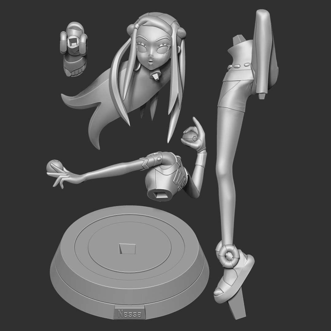 Nessa - Pokemon Sword and Shield - When you purchase this model, you will own:  - STL, OBJ file with 05 separated files (with key to connect together) is ready for 3D printing.  - Zbrush original files (ZTL) for you to customize as you like.  This is version 1.0 of this model.  Thanks so much for viewing my model!  Hope you guys like her :) - Os melhores arquivos para impressão 3D do mundo. Modelos stl divididos em partes para facilitar a impressão 3D. Todos os tipos de personagens, decoração, cosplay, próteses, peças. Qualidade na impressão 3D. Modelos 3D com preço acessível. Baixo custo. Compras coletivas de arquivos 3D.
