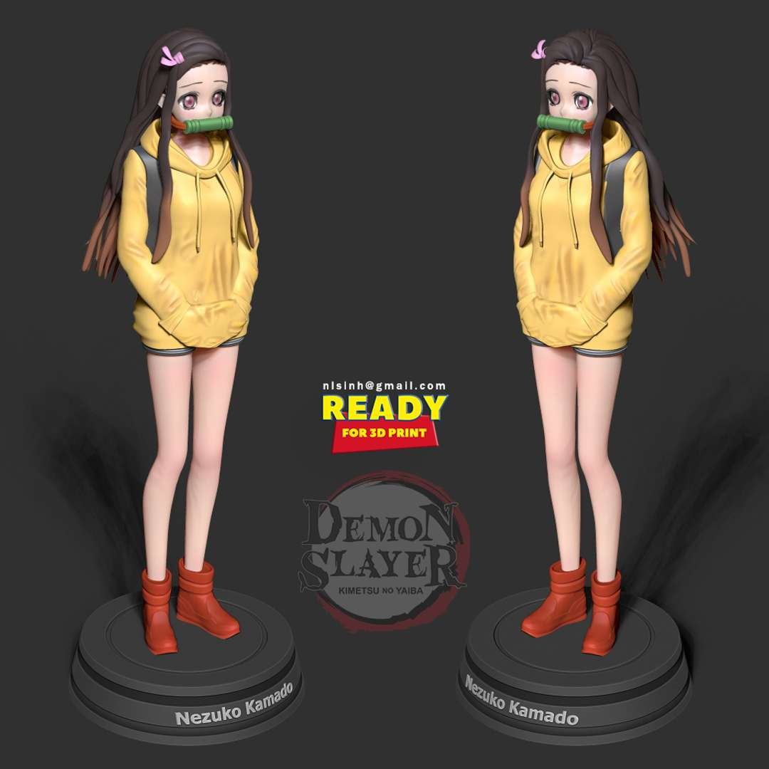 Nezuko Kamado - Demon Slayer Fanart  - Nezuko Kamado (竈門かまど 禰ね豆ず子こ Kamado Nezuko?) is one of the main protagonists of Demon Slayer: Kimetsu no Yaiba, the younger sister of Tanjiro Kamado and one of the two remaining members of the Kamado family. - quote wiki  When you purchase this model, you will own:  - STL, OBJ file with 08 separated files (with key to connect together) is ready for 3D printing.  - Zbrush original files (ZTL) for you to customize as you like.  This is version 1.0 of this model.  Hope you like her. Thanks for viewing! - Los mejores archivos para impresión 3D del mundo. Modelos Stl divididos en partes para facilitar la impresión 3D. Todo tipo de personajes, decoración, cosplay, prótesis, piezas. Calidad en impresión 3D. Modelos 3D asequibles. Bajo costo. Compras colectivas de archivos 3D.