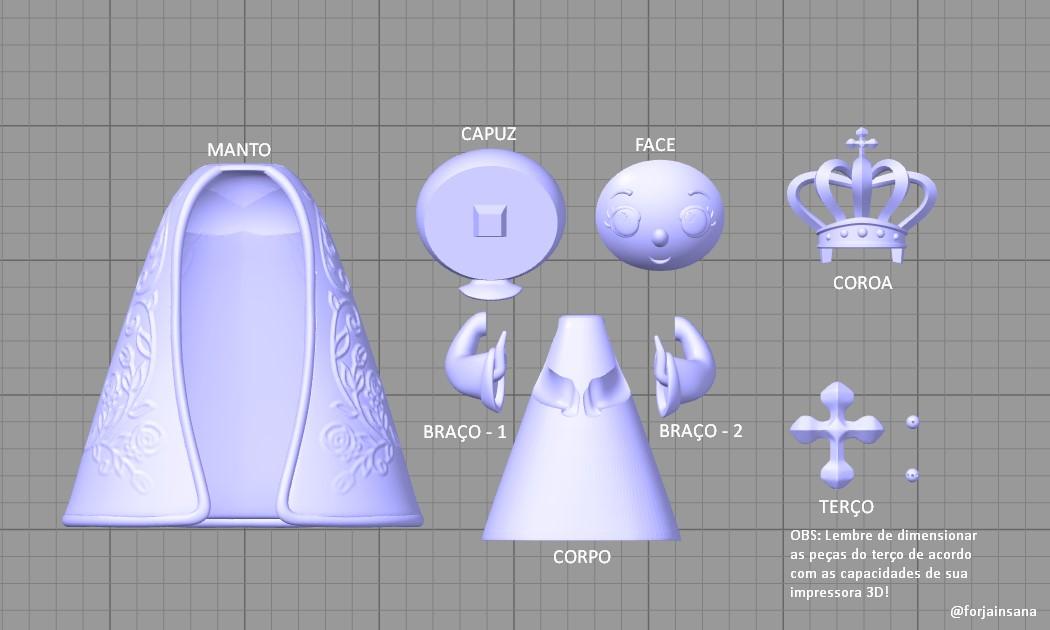 Nossa Senhora Aparecida Bebê  - Modelo Chibbi estilizado da Nossa Senhora Aparecida. - Os melhores arquivos para impressão 3D do mundo. Modelos stl divididos em partes para facilitar a impressão 3D. Todos os tipos de personagens, decoração, cosplay, próteses, peças. Qualidade na impressão 3D. Modelos 3D com preço acessível. Baixo custo. Compras coletivas de arquivos 3D.