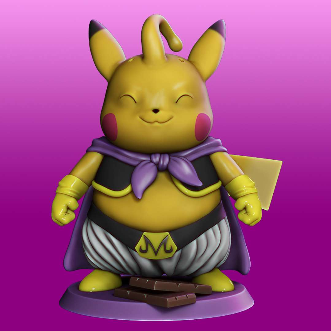 Pikachu Cosplay Majin Boo - Pikachu Cosplay Majin Boo File ready for printing 7 STL files ready for printing Model cut and prepared with plug-in pins for printing  I'm a 3D artist for a few years, graduated in game designer, venturing into this area of collectibles that became my passion, I hope you like the models, and if you have any questions or suggestions, just get in touch with me. - Los mejores archivos para impresión 3D del mundo. Modelos Stl divididos en partes para facilitar la impresión 3D. Todo tipo de personajes, decoración, cosplay, prótesis, piezas. Calidad en impresión 3D. Modelos 3D asequibles. Bajo costo. Compras colectivas de archivos 3D.