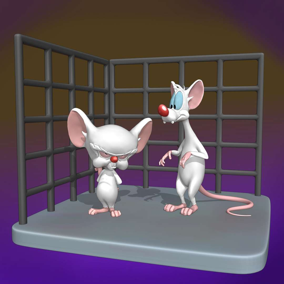 Pinky and the Brain - cut and pin models for fitting. - The best files for 3D printing in the world. Stl models divided into parts to facilitate 3D printing. All kinds of characters, decoration, cosplay, prosthetics, pieces. Quality in 3D printing. Affordable 3D models. Low cost. Collective purchases of 3D files.