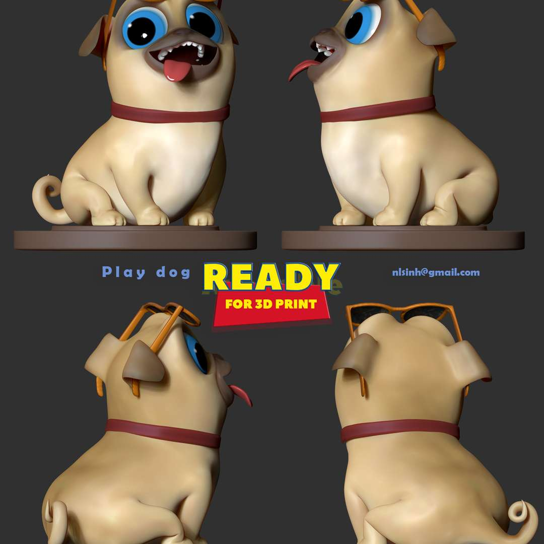 Play dog - Do you find this dog cute? ^^!  When you buy this product, you will own:  - OBJ, STL files are ready for 3D printing.  - Zbrush original files (ZTL) for you to customize as you like.  26th November, 2019: This is version 1.0 of this model.  16th January, 2021: version 1.1 - Split into 04 separate parts and create keys to connect those parts ready for 3D printing.  Thank you for viewing my model. - The best files for 3D printing in the world. Stl models divided into parts to facilitate 3D printing. All kinds of characters, decoration, cosplay, prosthetics, pieces. Quality in 3D printing. Affordable 3D models. Low cost. Collective purchases of 3D files.