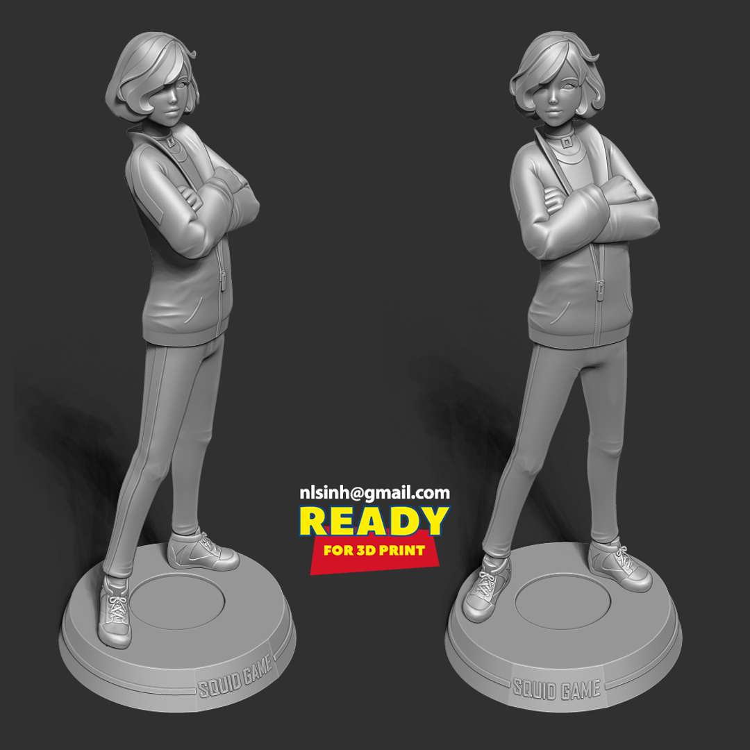 Player 067 - Squid game Fanart  - Player 067 (also known as King Sae-bye, played by HoYeon Jung) is one of the characters fans have taken to their hearts in the massively popular series.  When you purchase this model, you will own:  - STL, OBJ file with 06 separated files (with key to connect together) is ready for 3D printing.  - Zbrush original files (ZTL) for you to customize as you like.  This is version 1.0 of this model.  Thanks for viewing! - The best files for 3D printing in the world. Stl models divided into parts to facilitate 3D printing. All kinds of characters, decoration, cosplay, prosthetics, pieces. Quality in 3D printing. Affordable 3D models. Low cost. Collective purchases of 3D files.