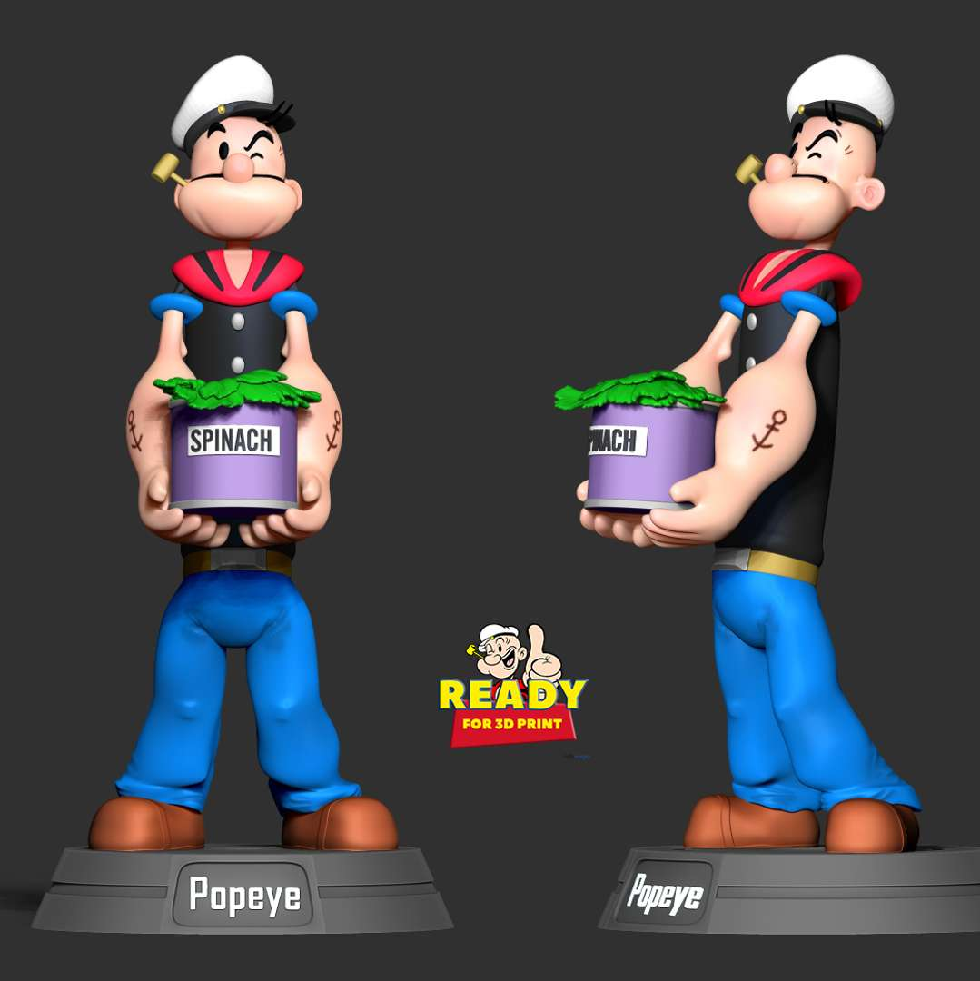 Popeye the Sailor  - Popeye the Sailor is a fictional American cartoon character created by Elzie Crisler Segar. - quote from wikipedia  This is one of the characters that has been associated with not only my childhood but that of many people around the world. Let's go back to our old days.  When you purchase this model, you will own:  - STL, OBJ file with 05 separated files (with key to connect together) is ready for 3D printing.  - Zbrush original files (ZTL) for you to customize as you like.  This is version 1.0 of this model.  Hope you like him. Thanks for viewing! - Los mejores archivos para impresión 3D del mundo. Modelos Stl divididos en partes para facilitar la impresión 3D. Todo tipo de personajes, decoración, cosplay, prótesis, piezas. Calidad en impresión 3D. Modelos 3D asequibles. Bajo costo. Compras colectivas de archivos 3D.