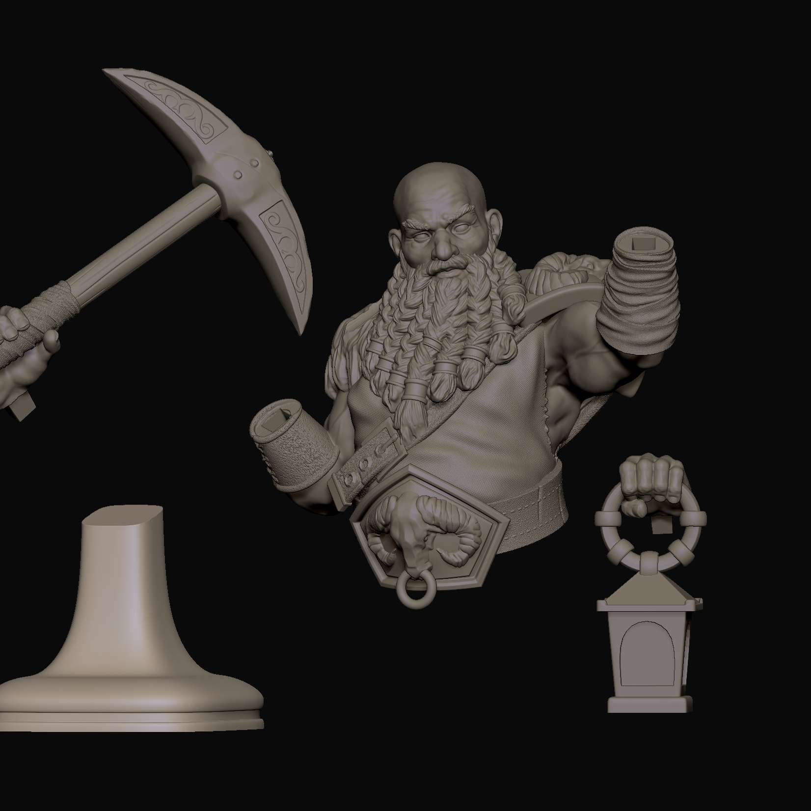 Dwarf Minerador - Busto Anão minerador para RPG de tabuleiro na escala de 100mm e 75mm.  Miner Dwarf Bust for board RPG on the scale of 100mm and 75mm - The best files for 3D printing in the world. Stl models divided into parts to facilitate 3D printing. All kinds of characters, decoration, cosplay, prosthetics, pieces. Quality in 3D printing. Affordable 3D models. Low cost. Collective purchases of 3D files.