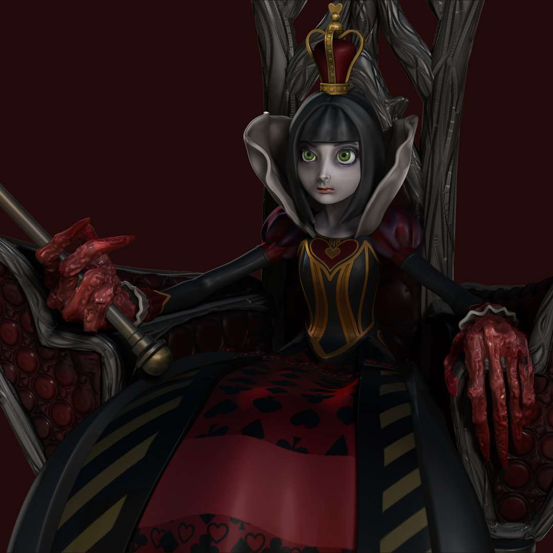 Red Queen- Alice Madness Returns - Queen of Hearts collectible from the game Alice: Madness Returns. Scale: 1/5 - The best files for 3D printing in the world. Stl models divided into parts to facilitate 3D printing. All kinds of characters, decoration, cosplay, prosthetics, pieces. Quality in 3D printing. Affordable 3D models. Low cost. Collective purchases of 3D files.