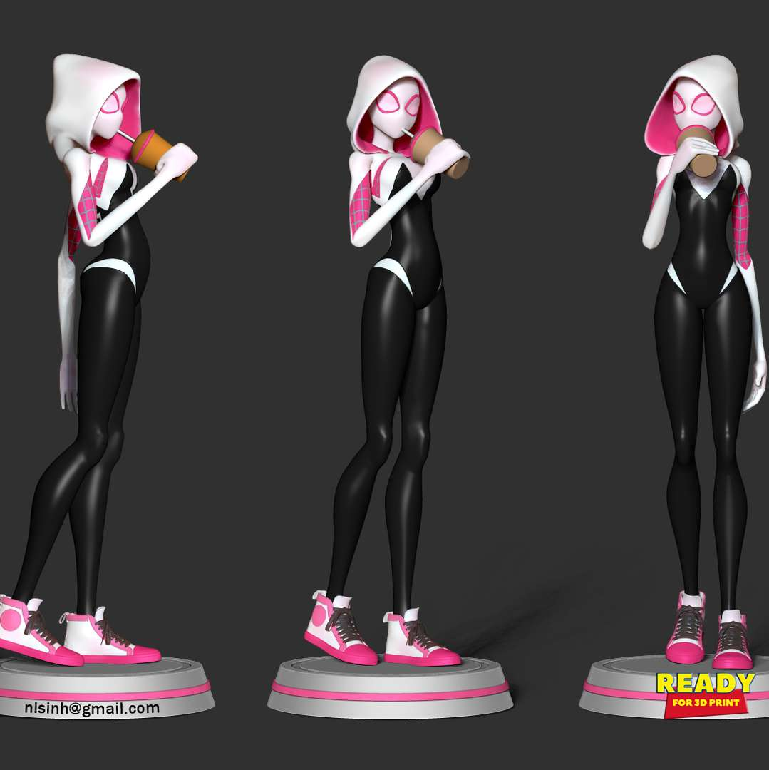 Refreshment with Spider-Gwen - Who is not thirsty? And so are superheroes :)  When you purchase this model, you will own:  - STL, OBJ file with 07 separated files (with key to connect together) is ready for 3D printing.  - Zbrush original files (ZTL) for you to customize as you like.  This is version 1.0 of this model.  Thanks for viewing! - The best files for 3D printing in the world. Stl models divided into parts to facilitate 3D printing. All kinds of characters, decoration, cosplay, prosthetics, pieces. Quality in 3D printing. Affordable 3D models. Low cost. Collective purchases of 3D files.