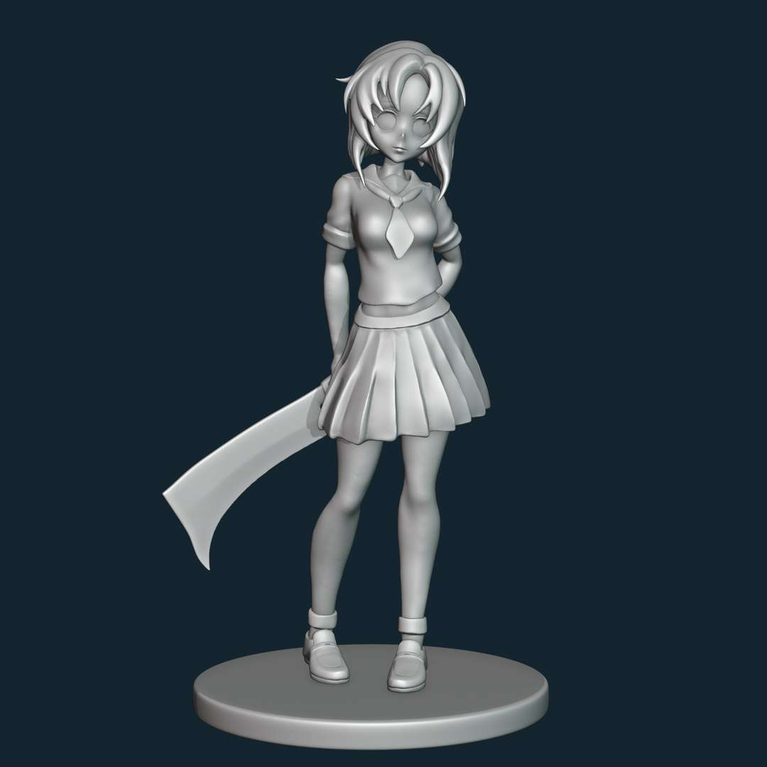"""Rena Ryugu - Rena is a character from """"Higurashi when they cry"""". - The best files for 3D printing in the world. Stl models divided into parts to facilitate 3D printing. All kinds of characters, decoration, cosplay, prosthetics, pieces. Quality in 3D printing. Affordable 3D models. Low cost. Collective purchases of 3D files."""