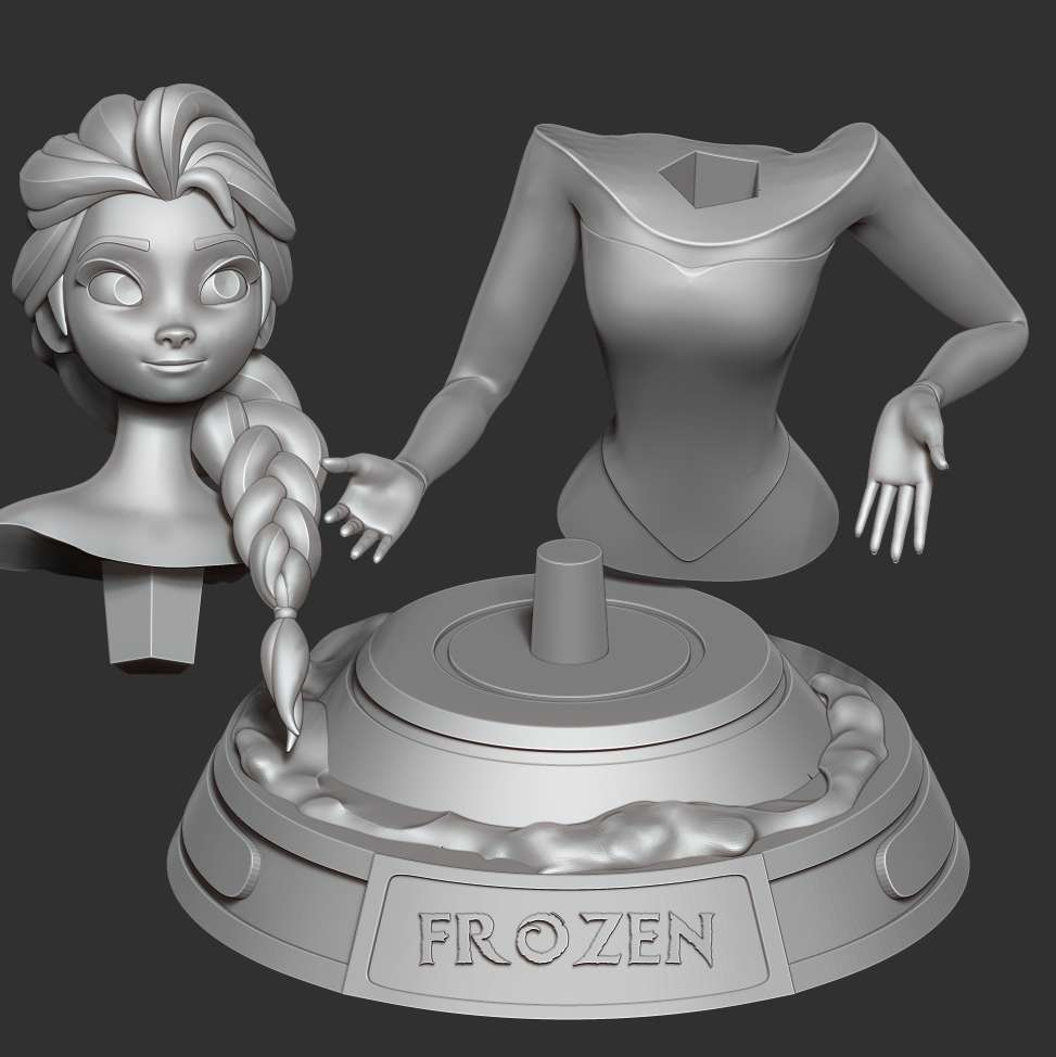 Elsa bust - > **Elsa: **Happy New Year! May our world have a new year 2021 filled with joy and happiness!  When purchasing this model, you will own:  **- STL file with 03 separated files (with key to connect together) is ready for 3D printing.**  Don't be shy, ask me questions if you have any questions.  Hope you like it. Thanks for viewing! - Los mejores archivos para impresión 3D del mundo. Modelos Stl divididos en partes para facilitar la impresión 3D. Todo tipo de personajes, decoración, cosplay, prótesis, piezas. Calidad en impresión 3D. Modelos 3D asequibles. Bajo costo. Compras colectivas de archivos 3D.