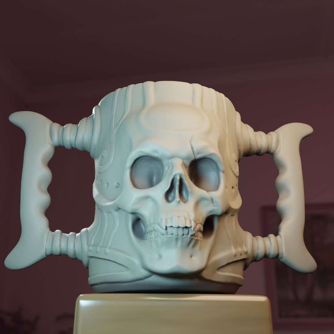 Skull Mug - The piece is divided into a few different shapes for you to choose the best shape to be printed. ATTENTION if you are going to use the piece for food consumption make sure to use the proper material for printing. - The best files for 3D printing in the world. Stl models divided into parts to facilitate 3D printing. All kinds of characters, decoration, cosplay, prosthetics, pieces. Quality in 3D printing. Affordable 3D models. Low cost. Collective purchases of 3D files.