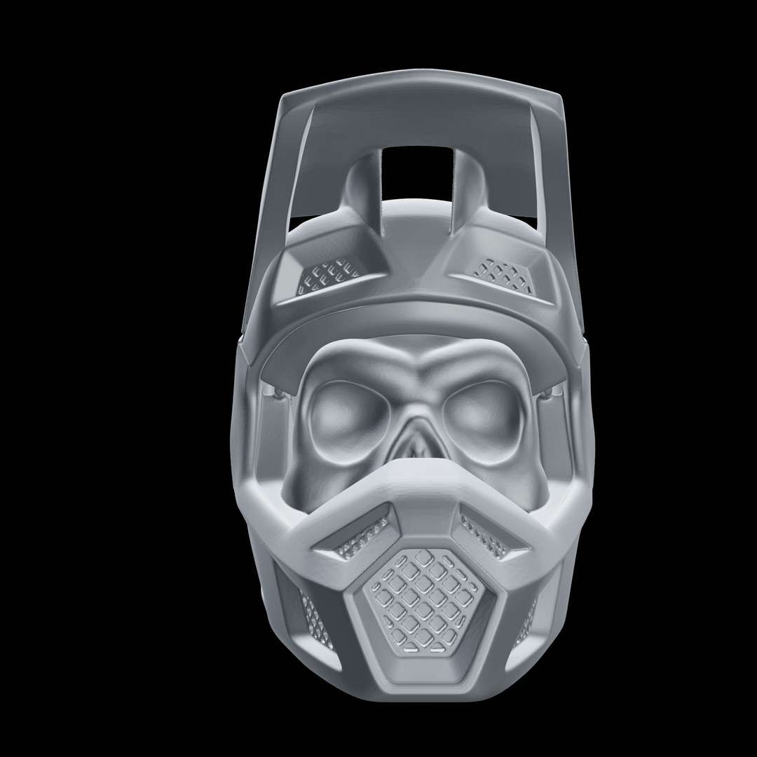 Skull Wearing Motocross Helmet - Skull symbolism is the attachment of symbolic meaning to the human skull. The most common symbolic use of the skull is as a representation of death and mortality.  This 3d model were sculpted especially for  3d printing,I have tried to avoid support as much as possible , but you are going to need to use support at least in the helmet overhanging visor. I would recommend to use cura tree support for it ,  The 3d printed piece in the images were print with: PLA,0,12 mm Layer high and tree support.  Have fun !!! - The best files for 3D printing in the world. Stl models divided into parts to facilitate 3D printing. All kinds of characters, decoration, cosplay, prosthetics, pieces. Quality in 3D printing. Affordable 3D models. Low cost. Collective purchases of 3D files.