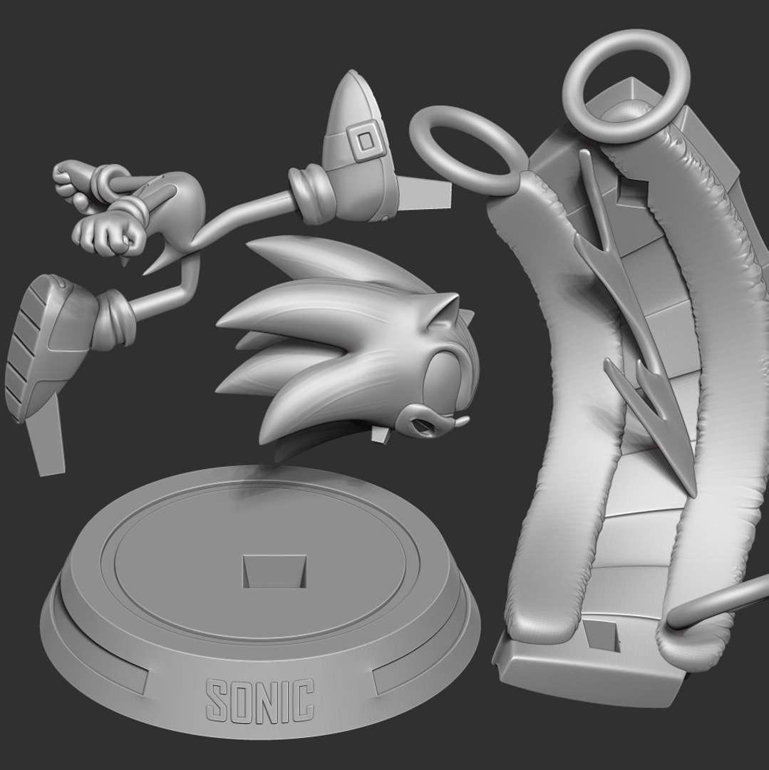 Sonic the Hedgehog - Lightning fast - When you purchase this product, you will own:  - OBJ, STL files are ready for 3D printing.  - Zbrush original files (ZTL) for you to customize as you like.  Hope you guys like him :)  Thanks so much for viewing my model! - Los mejores archivos para impresión 3D del mundo. Modelos Stl divididos en partes para facilitar la impresión 3D. Todo tipo de personajes, decoración, cosplay, prótesis, piezas. Calidad en impresión 3D. Modelos 3D asequibles. Bajo costo. Compras colectivas de archivos 3D.