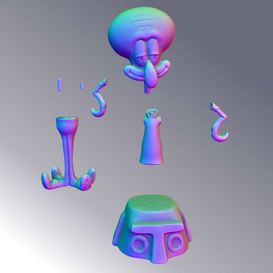 Squidward Tentacles - famous character in the SpongeBob SquarePants series. model cut and with pins for fitting. - The best files for 3D printing in the world. Stl models divided into parts to facilitate 3D printing. All kinds of characters, decoration, cosplay, prosthetics, pieces. Quality in 3D printing. Affordable 3D models. Low cost. Collective purchases of 3D files.