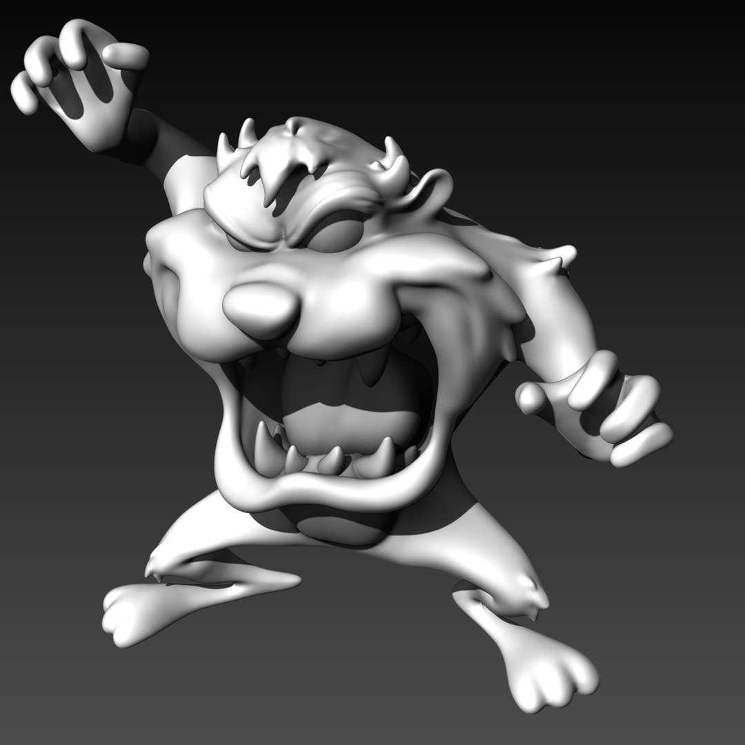 """Taz Mania - Looney Tunes - Hello Everyone!!  This is Taz Mania from the Looney Tunes tv show The original size is 11cm (4,3"""") and it's out off scale I decided to make the file available for free 'cause it's simple and fun  Hope you like!! :) - Os melhores arquivos para impressão 3D do mundo. Modelos stl divididos em partes para facilitar a impressão 3D. Todos os tipos de personagens, decoração, cosplay, próteses, peças. Qualidade na impressão 3D. Modelos 3D com preço acessível. Baixo custo. Compras coletivas de arquivos 3D."""