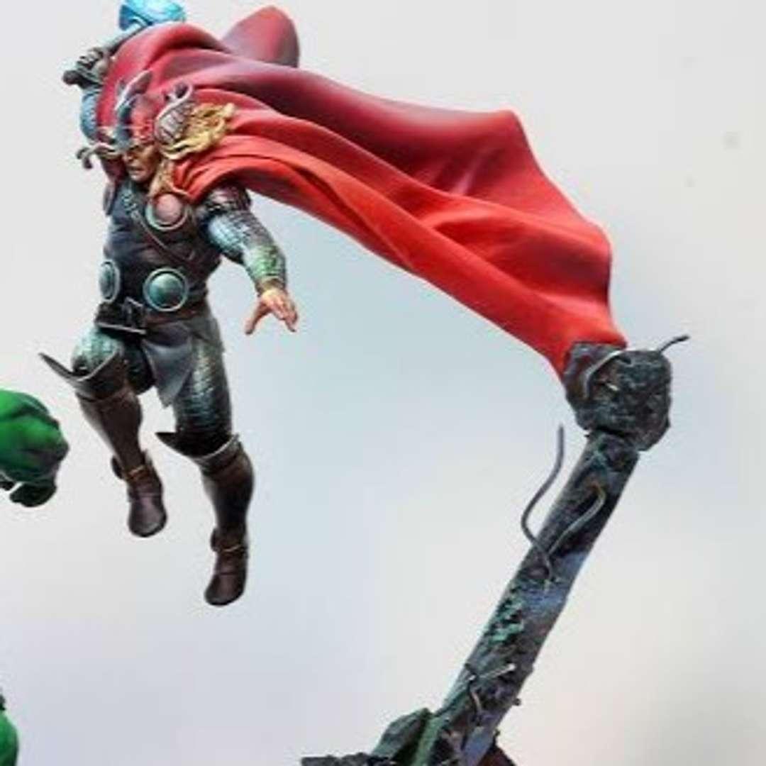 Thor - Thor with Armour in attack position.  Thor jumping to attack an enemy.  The idea is to make a Thor vs Hulk project. - Los mejores archivos para impresión 3D del mundo. Modelos Stl divididos en partes para facilitar la impresión 3D. Todo tipo de personajes, decoración, cosplay, prótesis, piezas. Calidad en impresión 3D. Modelos 3D asequibles. Bajo costo. Compras colectivas de archivos 3D.