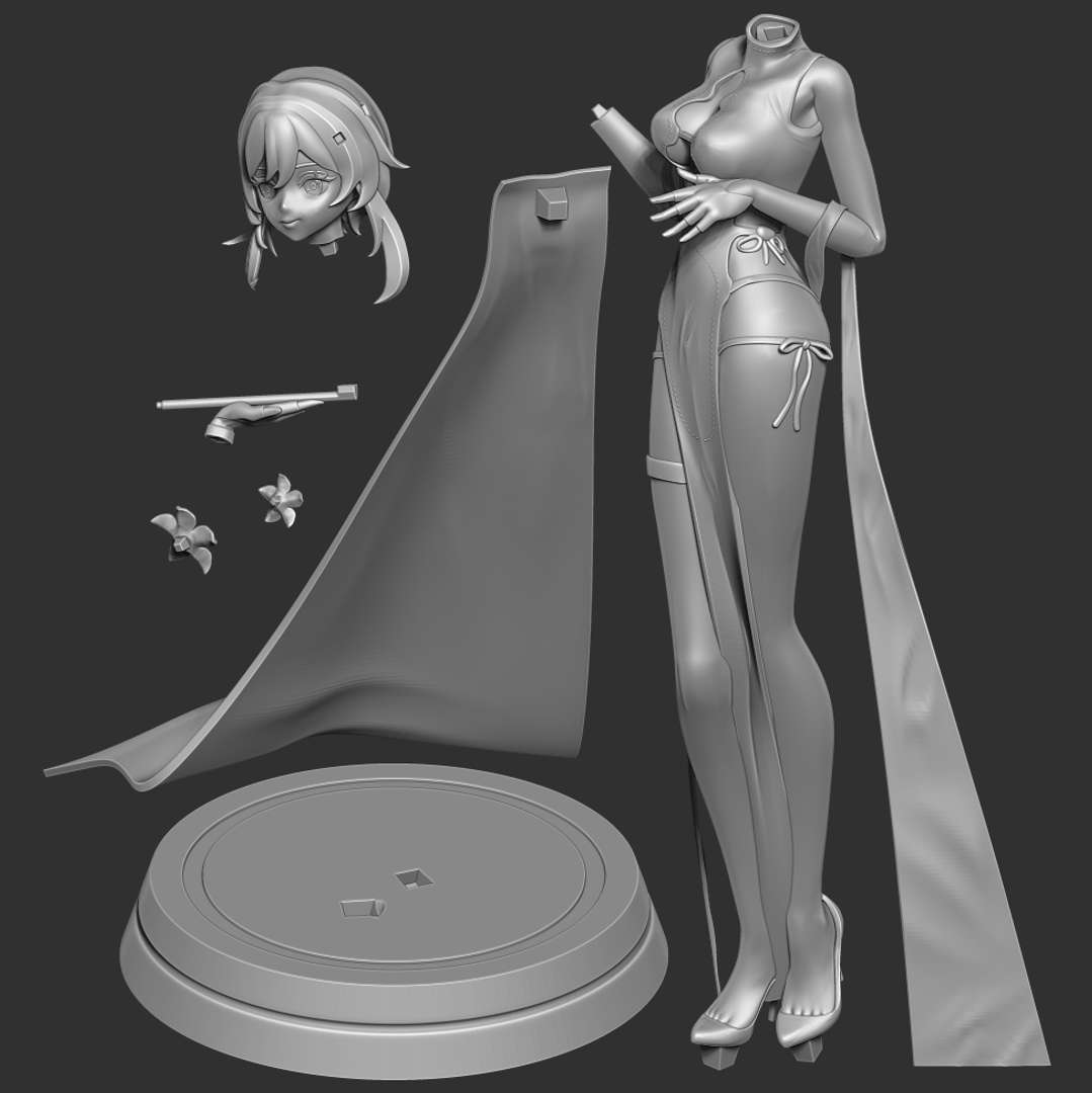 Traveler in cheongsam - I like a different look of the Traveler character of Genshin Impact.  When you purchase this model, you will own:  - STL, OBJ file with 07 separated files (with key to connect together) is ready for 3D printing.  - Zbrush original files (ZTL) for you to customize as you like. (DM me if you want)  This is version 1.0 of this model.  Thanks for viewing! - Los mejores archivos para impresión 3D del mundo. Modelos Stl divididos en partes para facilitar la impresión 3D. Todo tipo de personajes, decoración, cosplay, prótesis, piezas. Calidad en impresión 3D. Modelos 3D asequibles. Bajo costo. Compras colectivas de archivos 3D.
