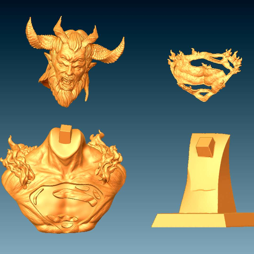 Trigon Superman Bust - Bust made based on the the animation Apokolips War. When superman became the receptacle of Trigon - Os melhores arquivos para impressão 3D do mundo. Modelos stl divididos em partes para facilitar a impressão 3D. Todos os tipos de personagens, decoração, cosplay, próteses, peças. Qualidade na impressão 3D. Modelos 3D com preço acessível. Baixo custo. Compras coletivas de arquivos 3D.