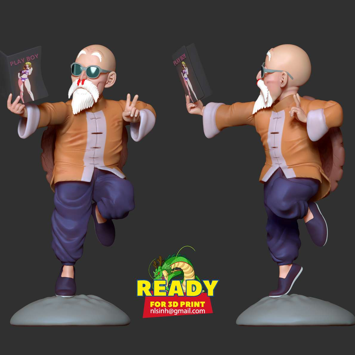 """Master Roshi - Dragon Ball Fan art - > Master Roshi, commonly referred to in the original Japanese as Kame Sennin (亀仙人, lit. """"Turtle Hermit"""") and also known as Muten Rōshi (武天老師, lit. """"Elder God of Martial Arts""""), is a fictional character from the Dragon Ball series created by Akira Toriyama. He is an ancient and wise martial arts master, as well as the creator of the Kamehameha (かめはめ波) technique. His students include Grandpa Gohan, The Ox-King, Son Goku, Krillin and Yamcha.  Thanks to Papy 3D for printing this model (https://www.facebook.com/3Dpapy/photos/a.119366829870643/145341983939794/).  I have divided the individual parts to make it easy for 3D printing:  **- OBJ, STL files are ready for 3D printing.**  **- Zbrush original files for you to customize as you like.**  _1st February, 2020] This is version 1.0 of this model. _  _[19th May, 2020] v1.3: Fixed the head to print without error. Thank https://www.cgtrader.com/bik-airsoft for his feedback._  Hope you get a good print from this model. Thanks so much! - Os melhores arquivos para impressão 3D do mundo. Modelos stl divididos em partes para facilitar a impressão 3D. Todos os tipos de personagens, decoração, cosplay, próteses, peças. Qualidade na impressão 3D. Modelos 3D com preço acessível. Baixo custo. Compras coletivas de arquivos 3D."""