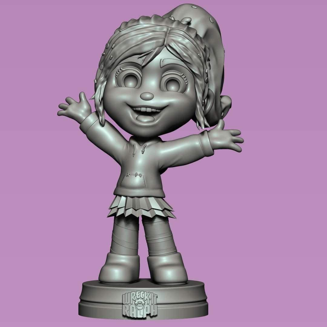 """Vanellope von Schweetz - Vanellope character from the movie """"Wreck-it Ralph"""". - Los mejores archivos para impresión 3D del mundo. Modelos Stl divididos en partes para facilitar la impresión 3D. Todo tipo de personajes, decoración, cosplay, prótesis, piezas. Calidad en impresión 3D. Modelos 3D asequibles. Bajo costo. Compras colectivas de archivos 3D."""