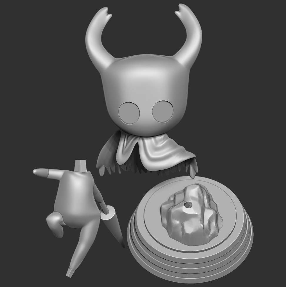 Hollow Knight - When you purchase this model, you will own:  **- STL, OBJ file with 03 separated files (with key to connect together) is ready for 3D printing.**  **- Zbrush original files (ZTL) for you to customize as you like.**  _This is version 1.0 of this model._  Thanks so much for viewing  my model! Hope you guys like him :)  We hope to receive the support of our dear customers. - Los mejores archivos para impresión 3D del mundo. Modelos Stl divididos en partes para facilitar la impresión 3D. Todo tipo de personajes, decoración, cosplay, prótesis, piezas. Calidad en impresión 3D. Modelos 3D asequibles. Bajo costo. Compras colectivas de archivos 3D.