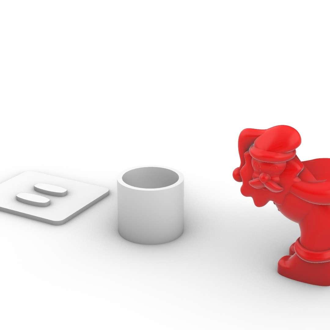 Papai Noel_Vaso - Model printed in 3 parts, base, Santa Claus and vase, As attached images. - Os melhores arquivos para impressão 3D do mundo. Modelos stl divididos em partes para facilitar a impressão 3D. Todos os tipos de personagens, decoração, cosplay, próteses, peças. Qualidade na impressão 3D. Modelos 3D com preço acessível. Baixo custo. Compras coletivas de arquivos 3D.