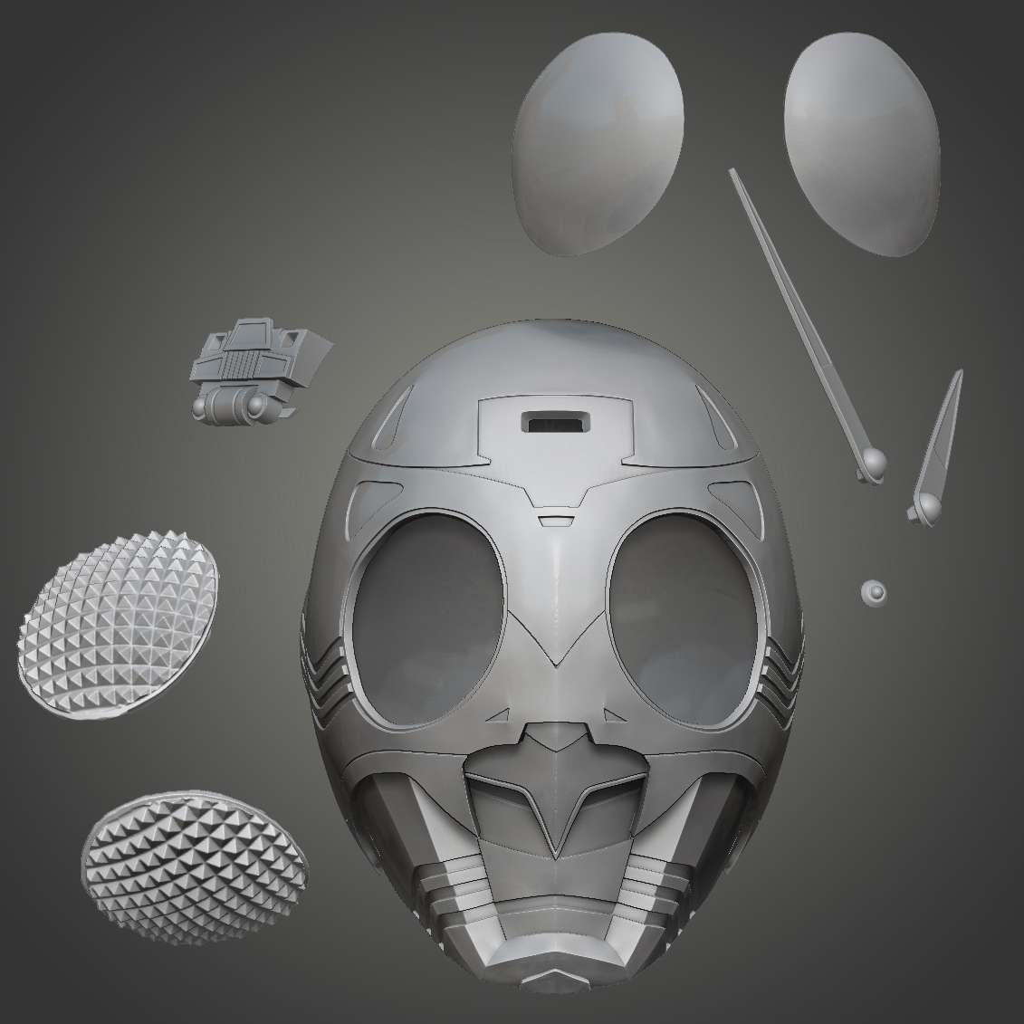 Shadow Moon helmet for cosplay - Helmet for Shadow moon, the enemy of Kamen Rider, from Tokusatsu heros. - The best files for 3D printing in the world. Stl models divided into parts to facilitate 3D printing. All kinds of characters, decoration, cosplay, prosthetics, pieces. Quality in 3D printing. Affordable 3D models. Low cost. Collective purchases of 3D files.