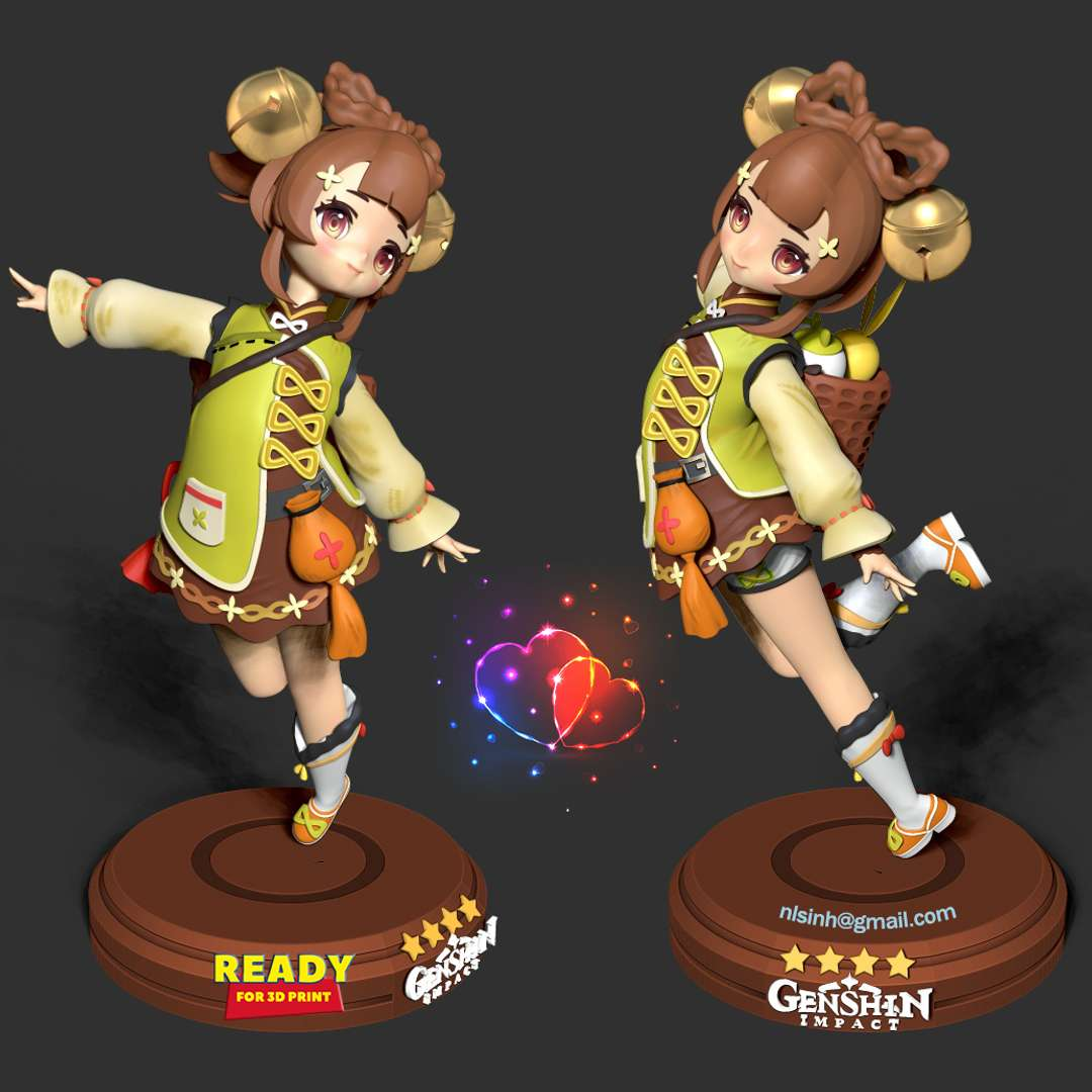 Yaoyao - Genshin Impact Fanart - Yaoyao (Chinese: 瑶瑶 Yáoyáo) is an NPC in Genshin Impact. She is speculated to be released as a playable character in the future. She was Xiangling's junior disciple under the same master chef, but has since become an assistant for Ganyu. - quote from wiki  It took me 2 weeks to finish this character. Hope everyone will like and support me!  When you purchase this model, you will own:  - STL, OBJ file with 10 separated files (with key to connect together) is ready for 3D printing.  - Zbrush original files (ZTL) for you to customize as you like.  This is version 1.0 of this model.  Thanks for viewing! - The best files for 3D printing in the world. Stl models divided into parts to facilitate 3D printing. All kinds of characters, decoration, cosplay, prosthetics, pieces. Quality in 3D printing. Affordable 3D models. Low cost. Collective purchases of 3D files.