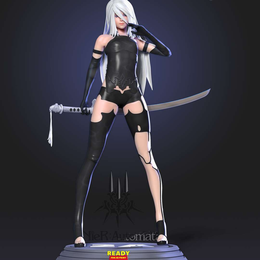 Yorha A2 - YoRHa Type A (Attacker) No.2 or A2 serves as the protagonist of Branch C in NieR:Automata, as well as the final boss in Branch D. She is also a major character in the YoRHa Stage Play.  I have divided this model into 09 parts (with keys to connect together).  You will own file STL when buying this model by me.  * 15th September, 2020: This is version 1.0  * 18th May, 2021: version 1.2 - Fix belly and shirt together. Merge objects to facilitate printing.  Hope you guys like her :) - Los mejores archivos para impresión 3D del mundo. Modelos Stl divididos en partes para facilitar la impresión 3D. Todo tipo de personajes, decoración, cosplay, prótesis, piezas. Calidad en impresión 3D. Modelos 3D asequibles. Bajo costo. Compras colectivas de archivos 3D.