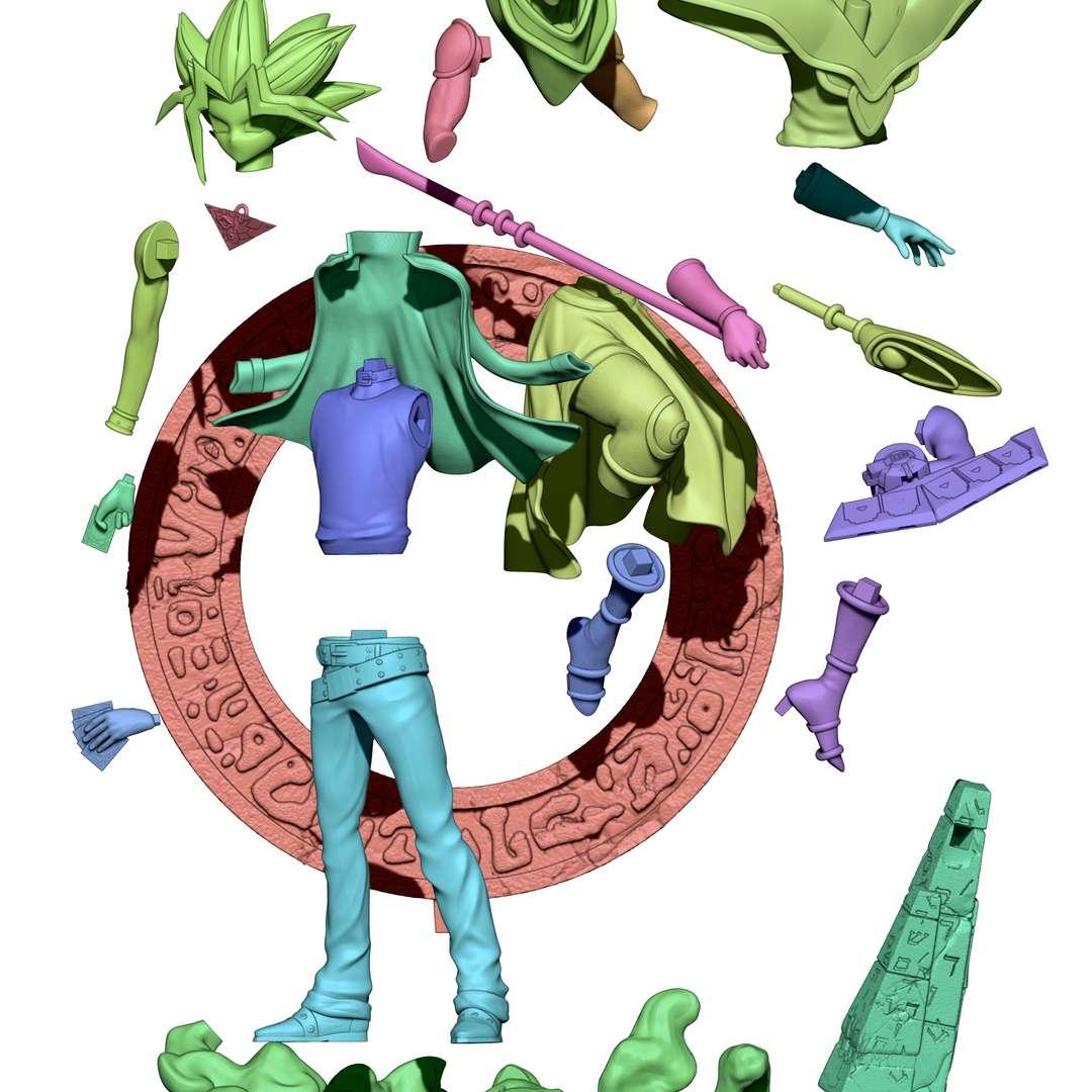 yugioh diorama  - diorama yugioh, yugi and black magician, printed and tested model, all perfect fits, high quality modeling - Os melhores arquivos para impressão 3D do mundo. Modelos stl divididos em partes para facilitar a impressão 3D. Todos os tipos de personagens, decoração, cosplay, próteses, peças. Qualidade na impressão 3D. Modelos 3D com preço acessível. Baixo custo. Compras coletivas de arquivos 3D.