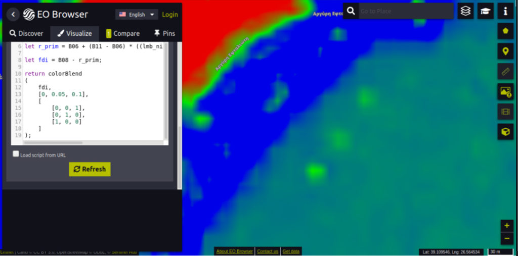 Imagen satelital con filtro FDI aplicado