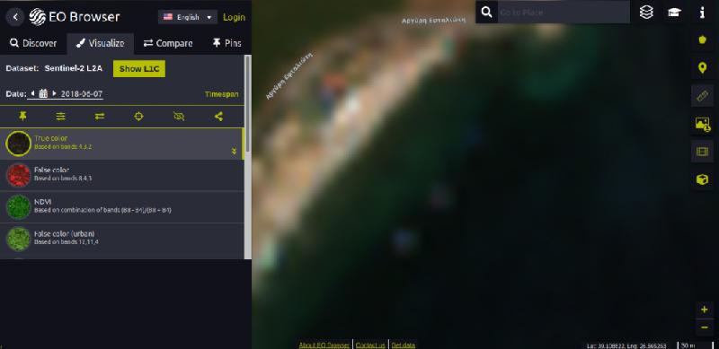 Imagen satelital de plástico de validación
