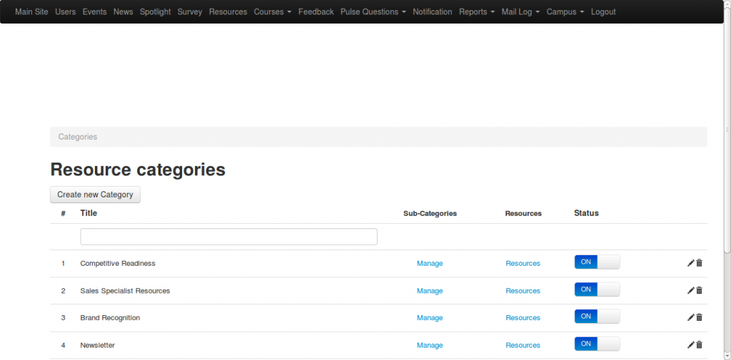 Screenshot of a CMS for an educational portal, built by Greenice