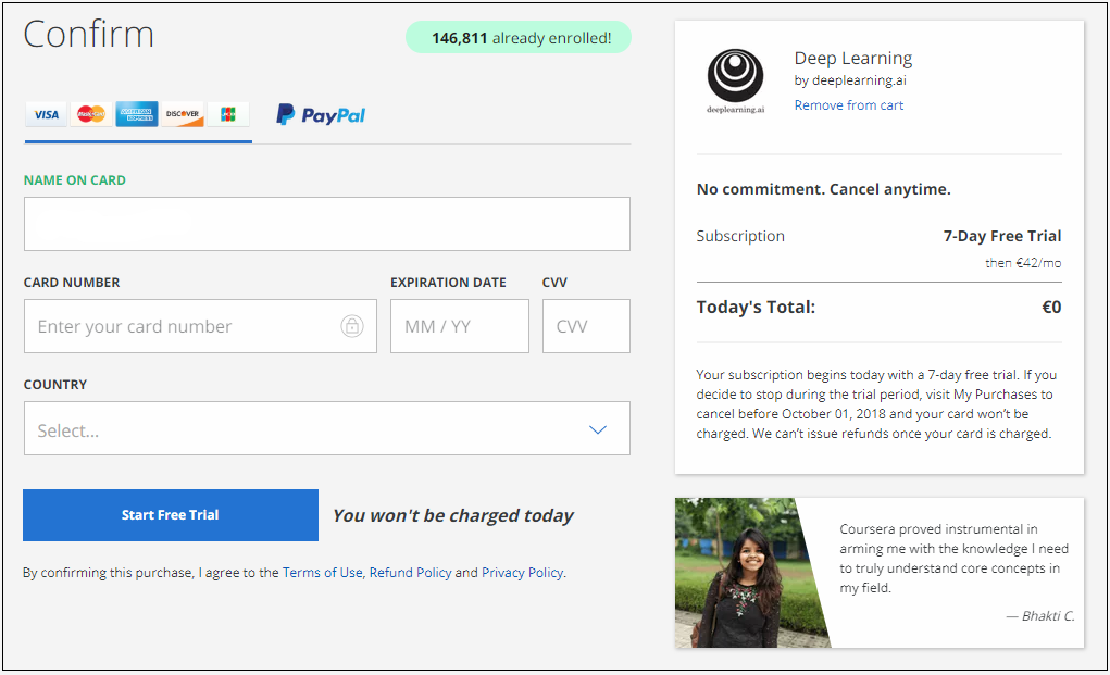 coursera payment form