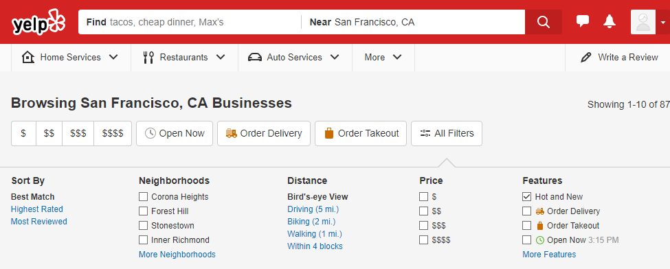 Yelp search