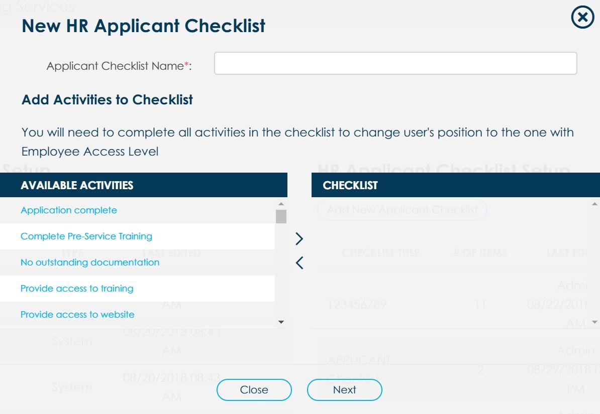 HR checklist example
