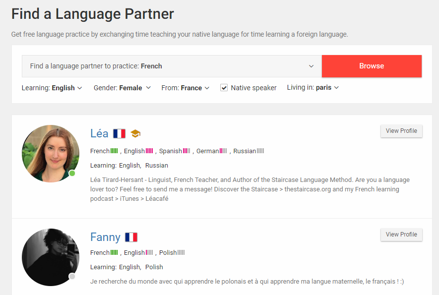 search language partner