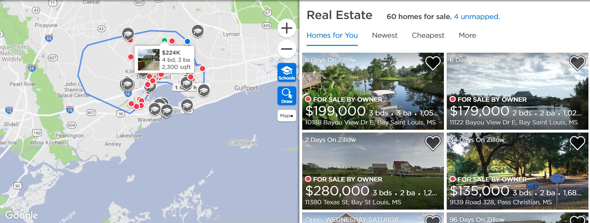 Map search Zillow