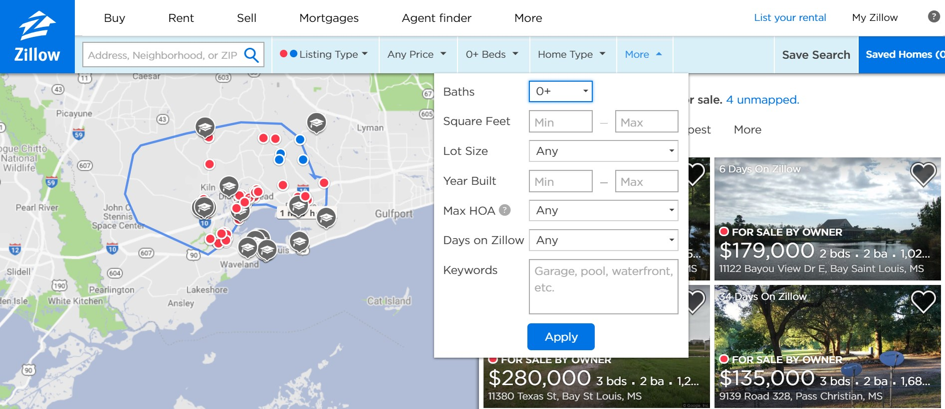 Zillow search filters
