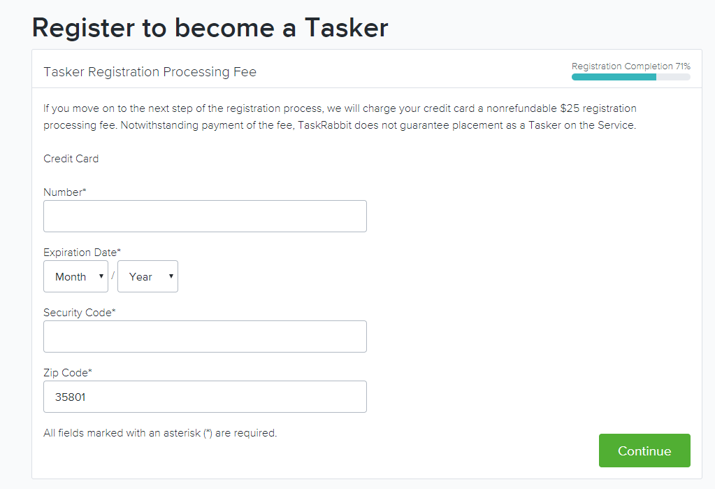 TaskRabbit registration fee
