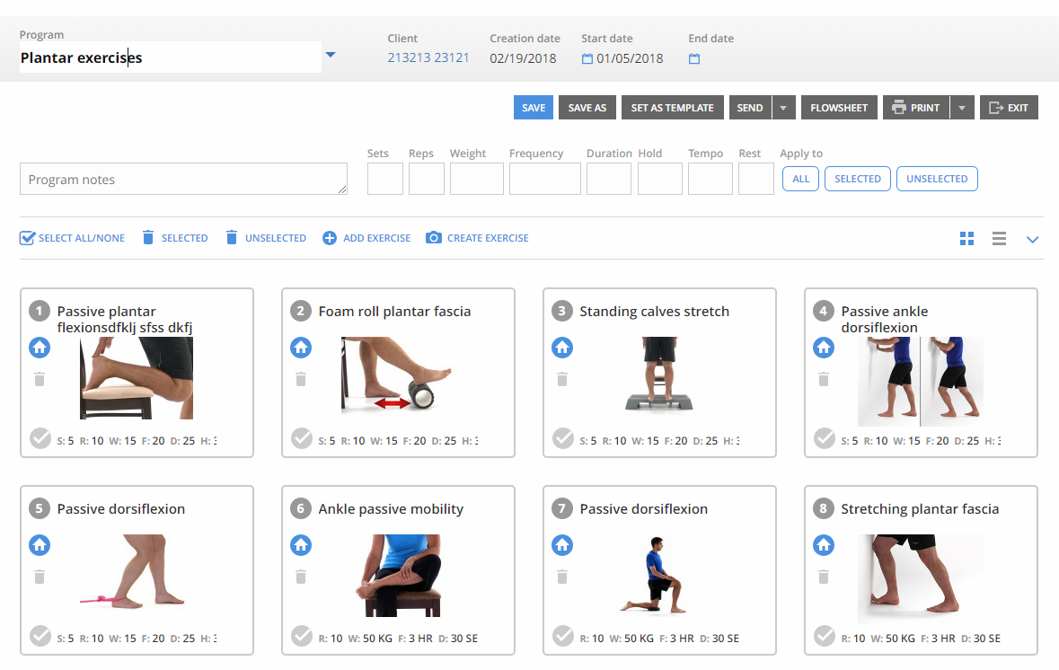 Home Excercise Program software we've developed for our client