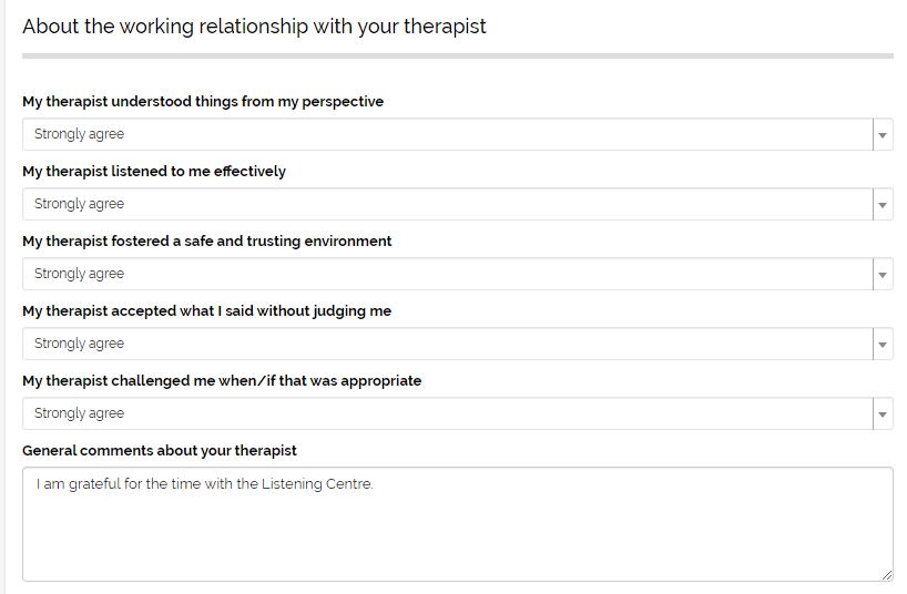 Patient satisfaction survey we've developed as part of a CRM for Mental Heatlh