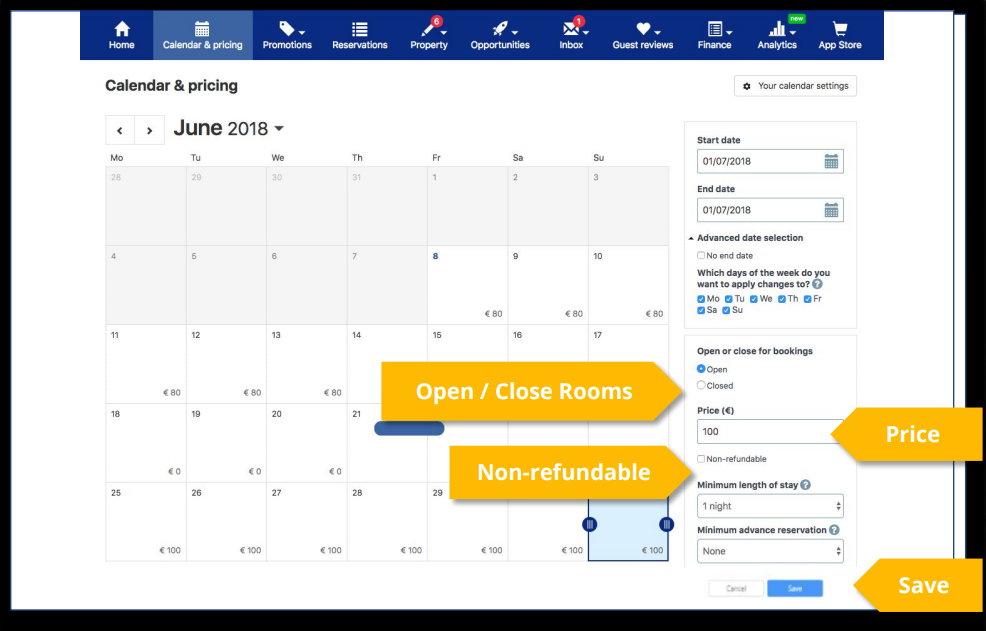 Calendar and Pricing - Availability Setting
