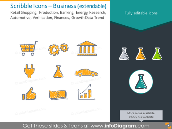 Business icons set: Retail, Production, Banking, Energy, Research