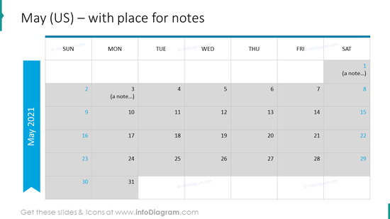 May Calendars 2020 US with notes plan