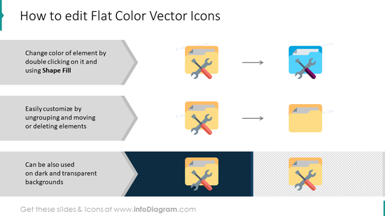 Editing flat color vector icons