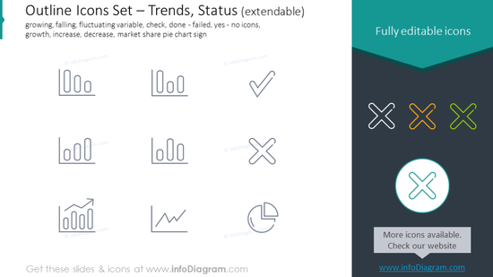 Icons Set: trends, falling, check, growth, increase, decrease